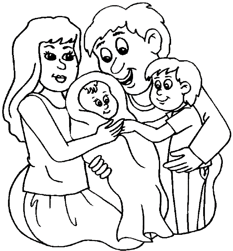 Раскраска новорожденный в семье