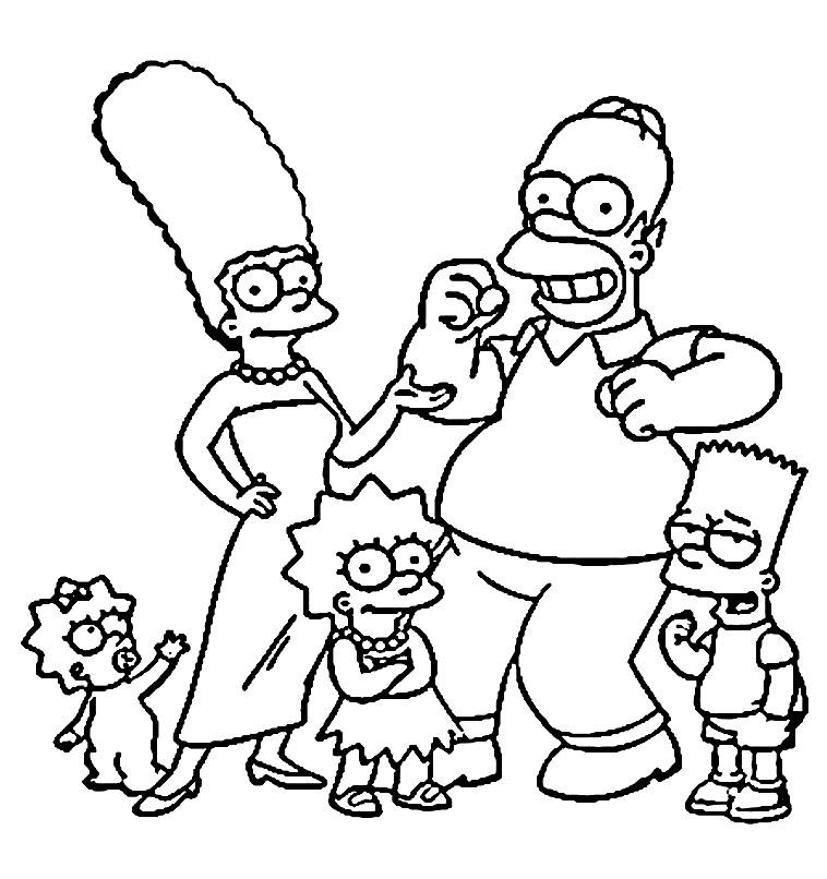 Раскраска семья Симпсонов