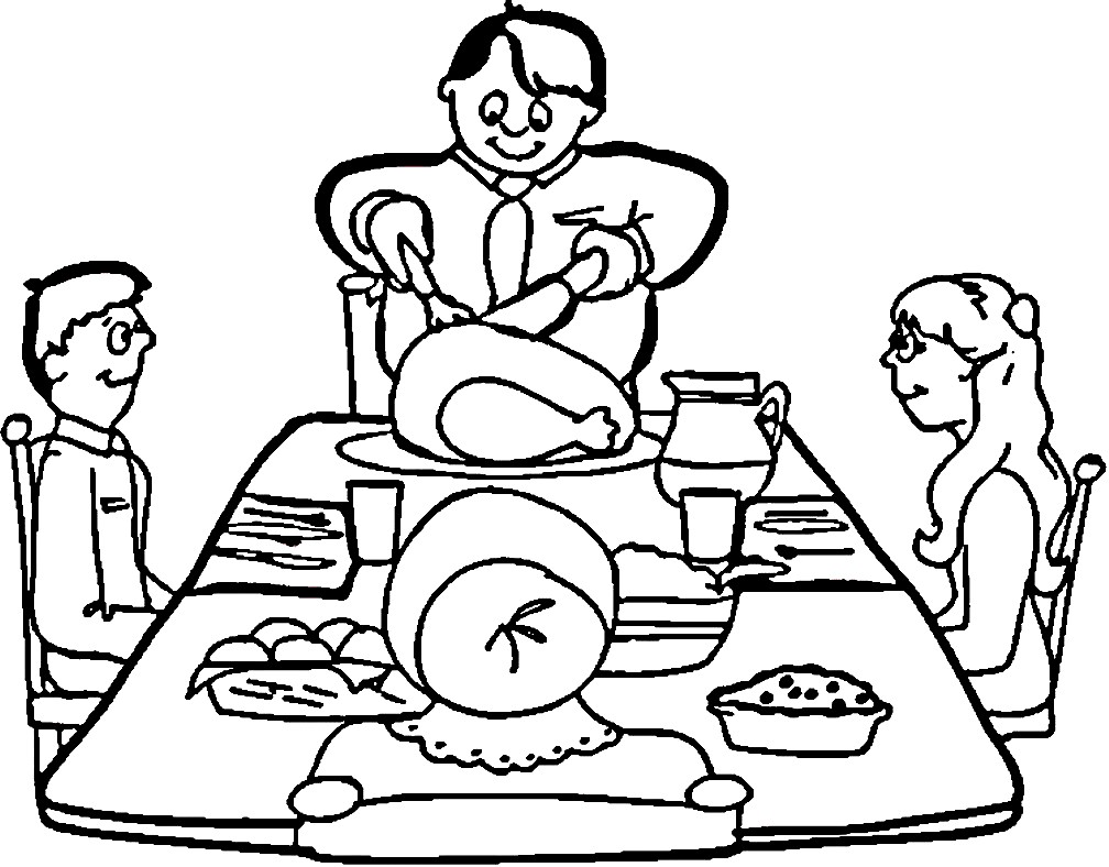 Раскраска семья за столом