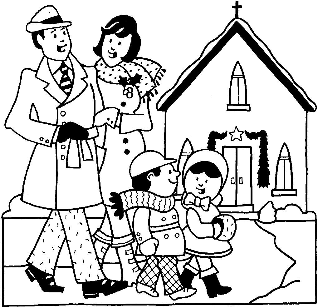 Раскраска семья на прогулке