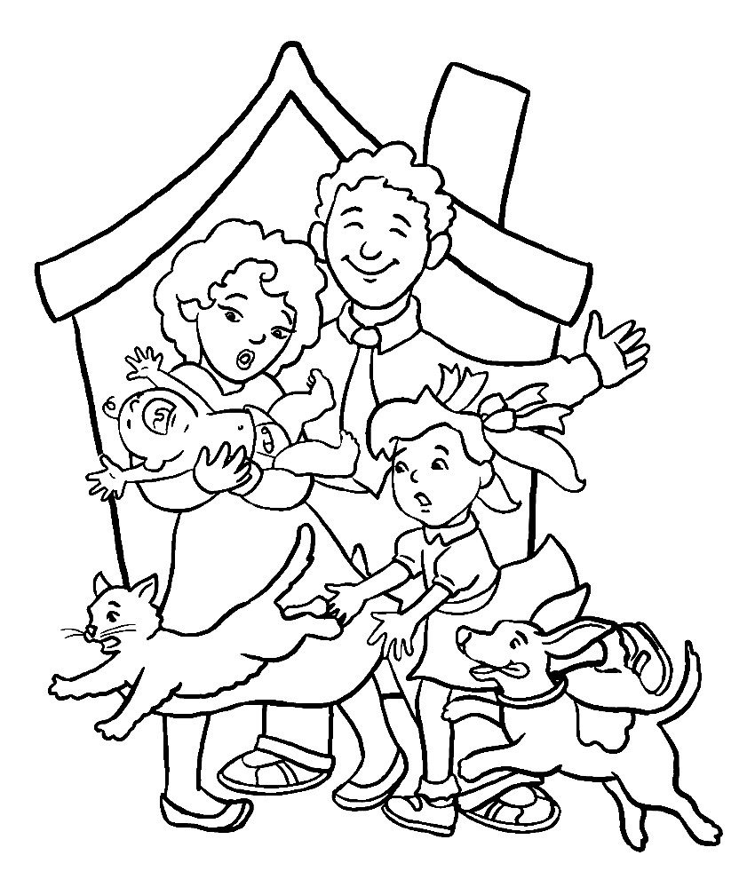 Раскраска моя семья