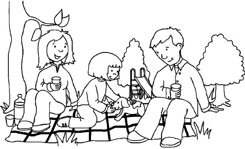 Раскраска семья на пикнике
