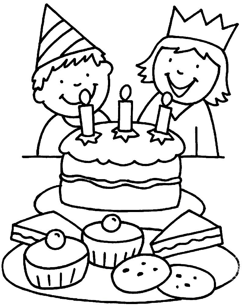 Раскраска дети с тортом