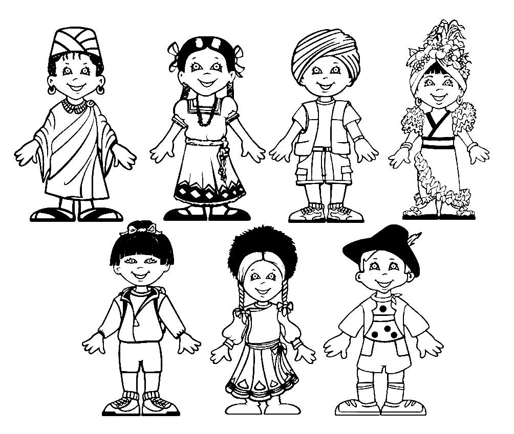 Раскраска дети народов мира