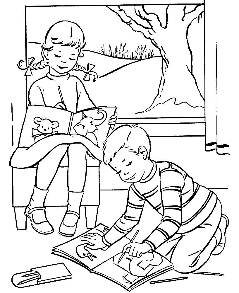 Раскраска дети раскрашивают раскраску