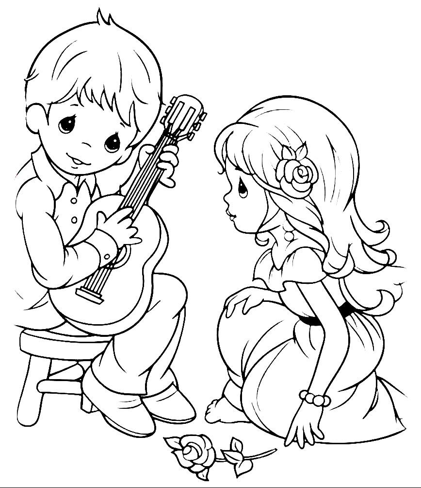 Раскраска мальчик играет на гитаре