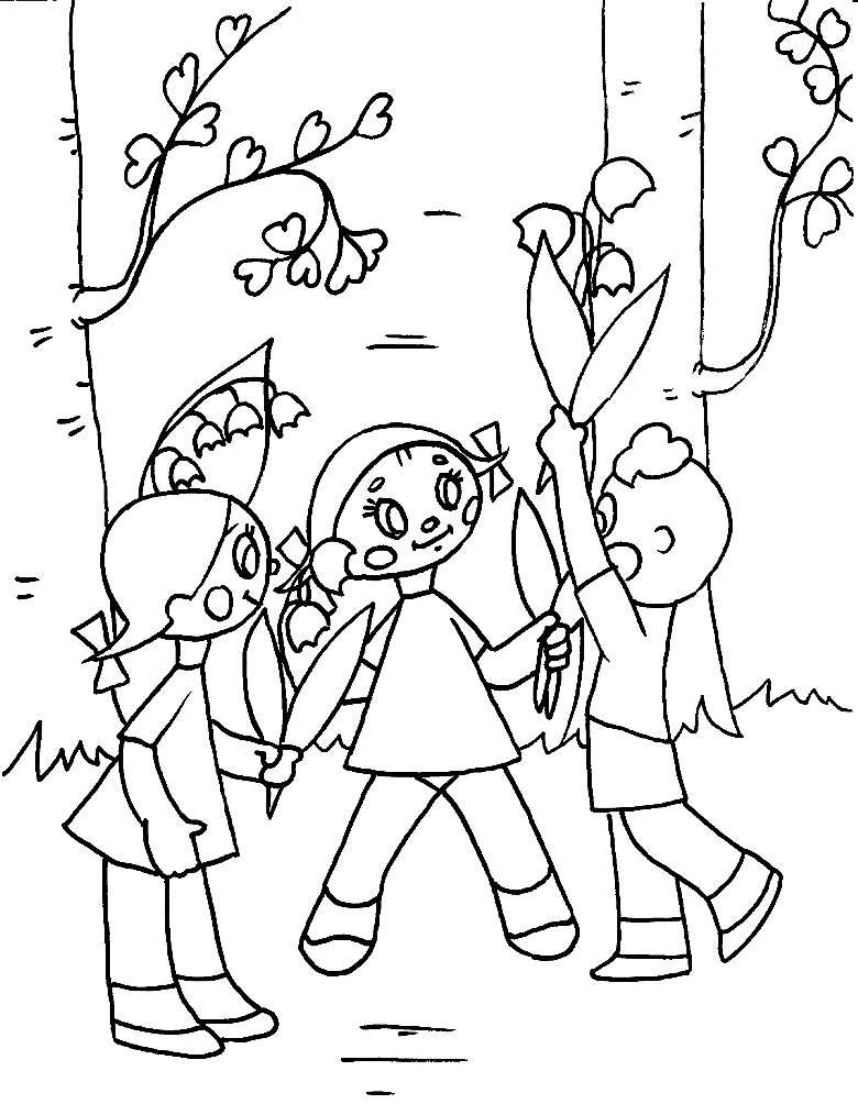 Раскраска дети с цветами