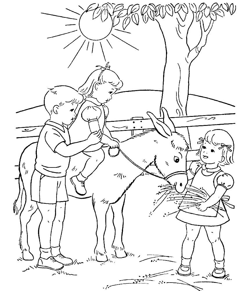 Раскраска дети катаются на ослике