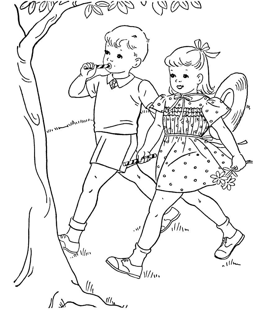 Раскраска дети идут на праздник