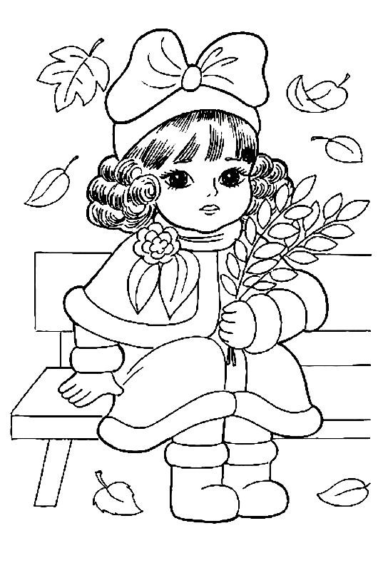 Раскраска принцесса на осенней прогулке