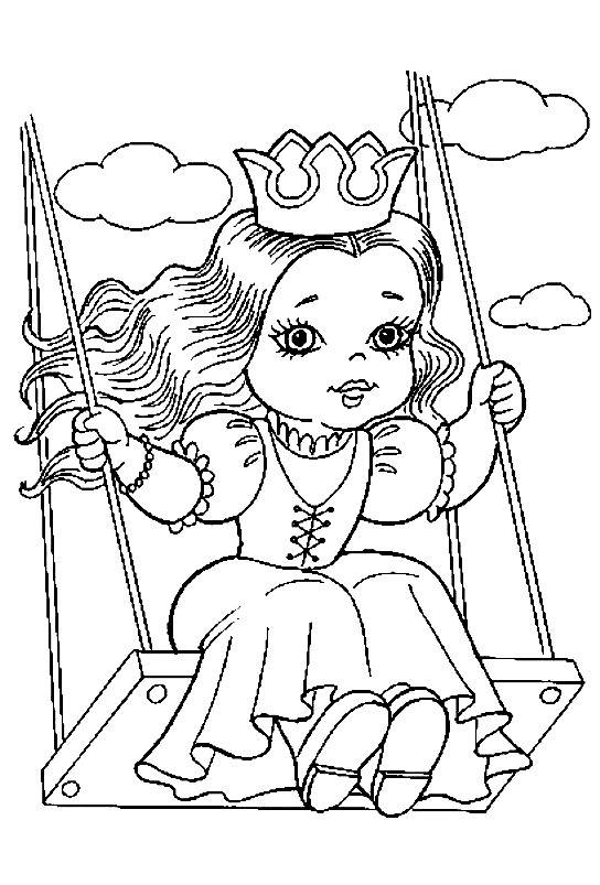 Раскраска принцесса катается на качелях
