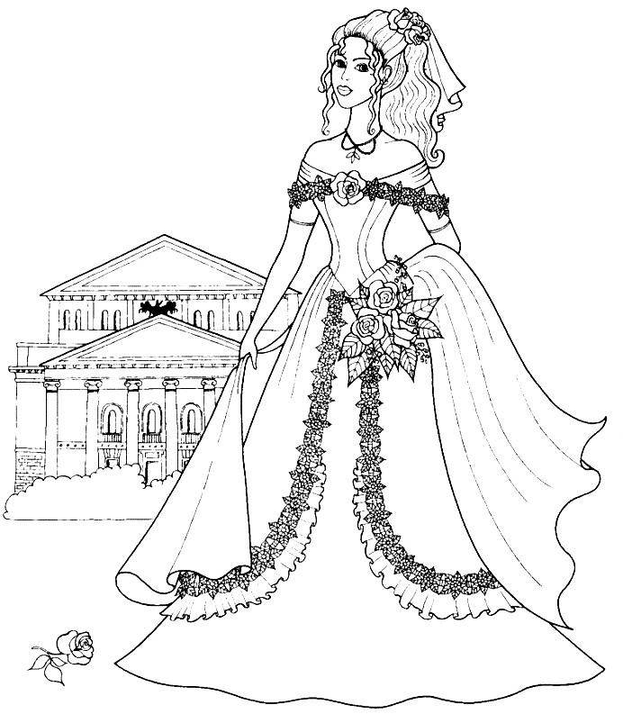 Раскраска Барби принцесса в красивом платье | Раскраски ...