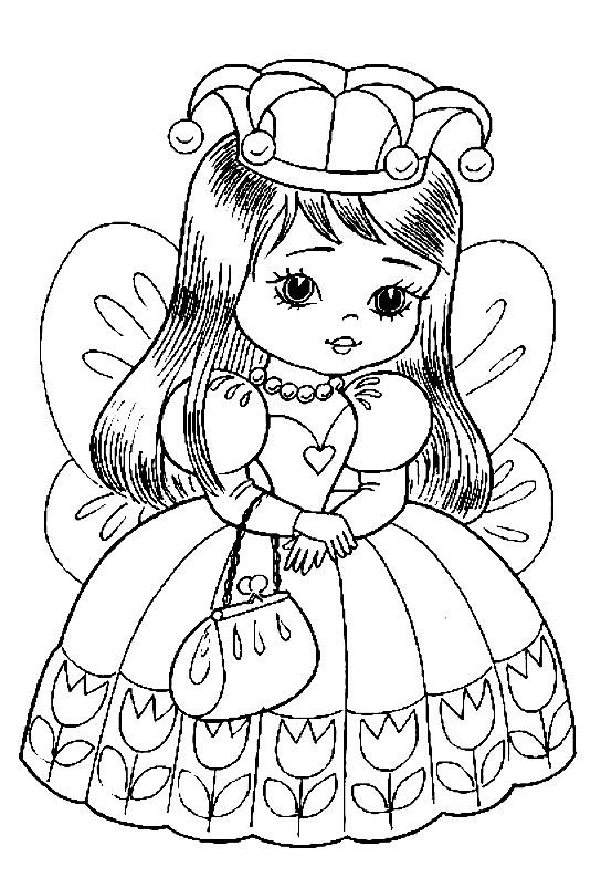 Раскраска принцесса в красивом наряде