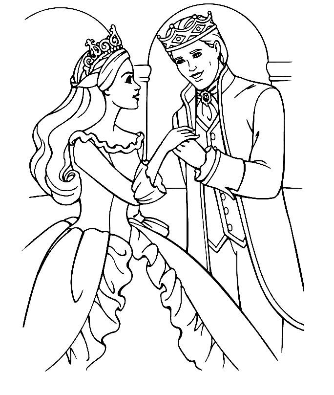 Раскраска принцесса Барби и принц