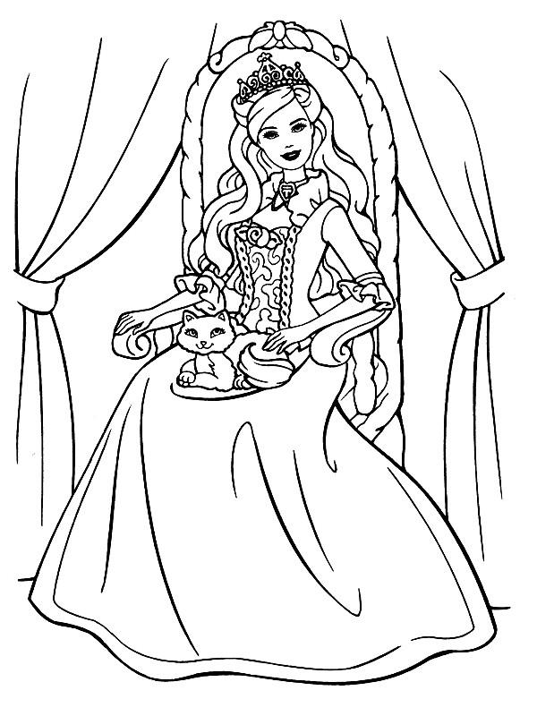 Раскраска королева на троне
