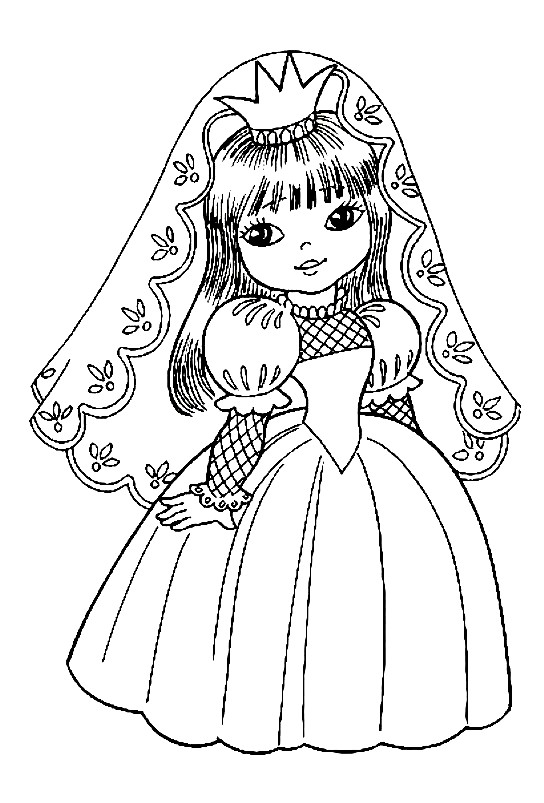 Раскраска принцесса в красивом платье