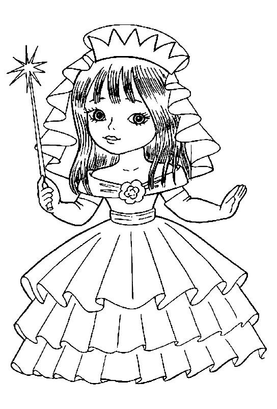Раскраска маленькая фея с волшебной палочкой