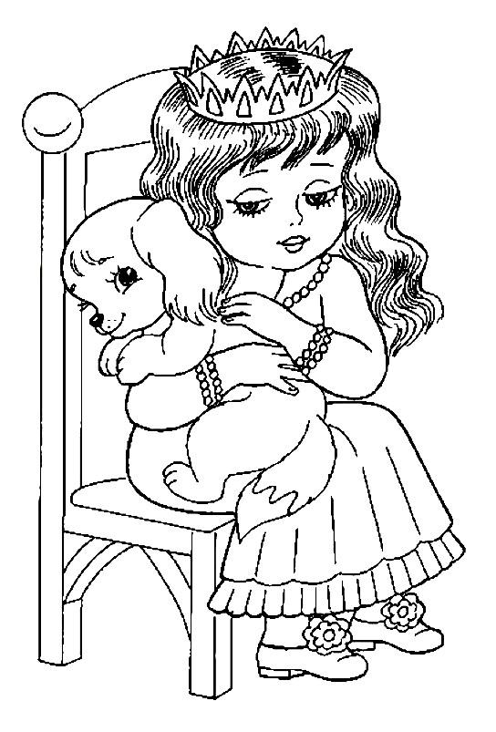 Раскраска принцесса с собачкой