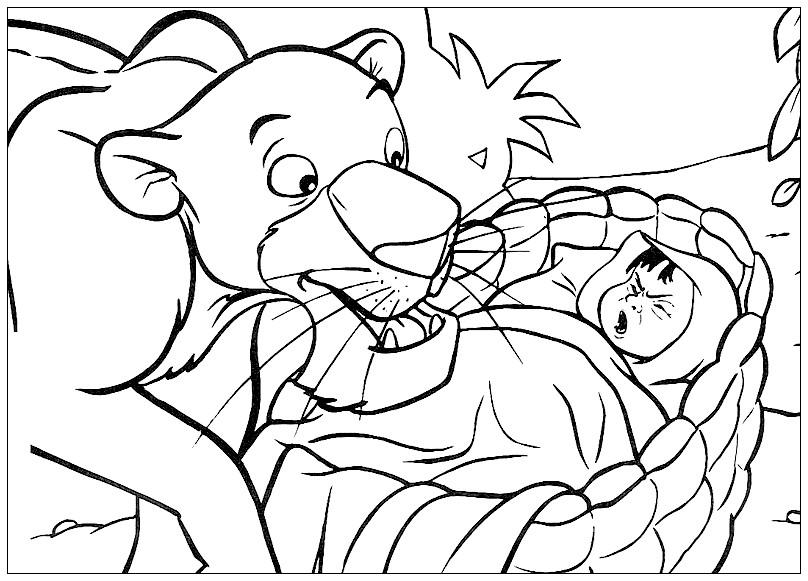 Раскраска Маугли и пантера Багира