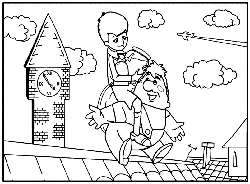 Раскраска Малыш и Карлсон