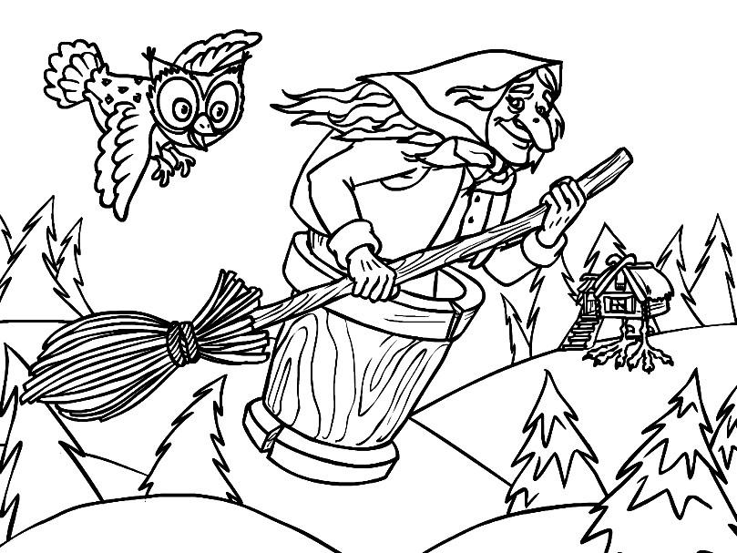 Раскраска Баба Яга