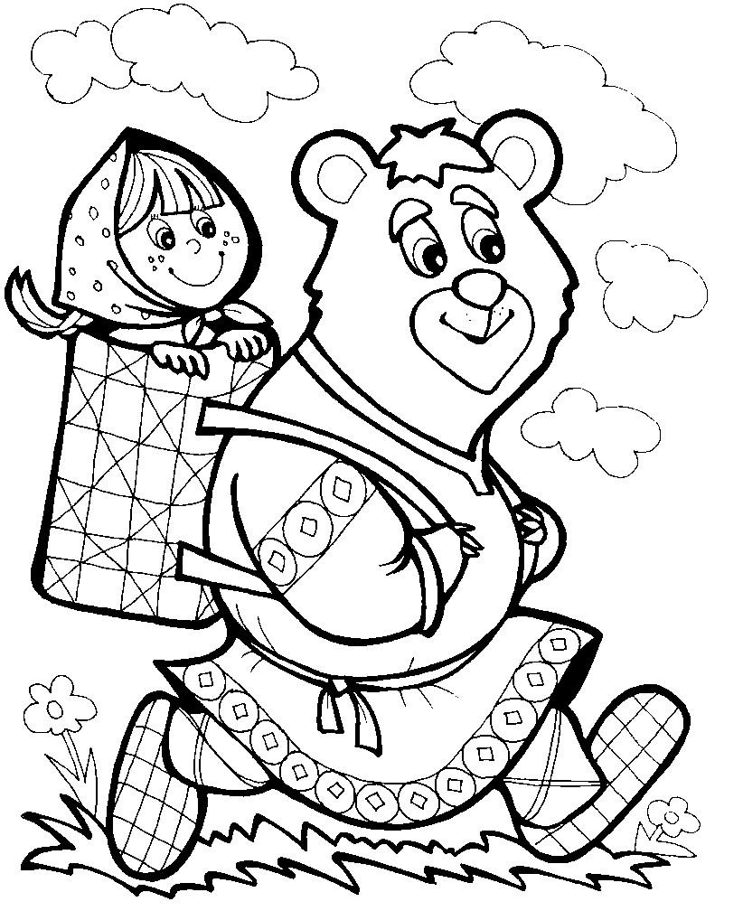 раскраска герои сказки маша и медведь раскраски для детей