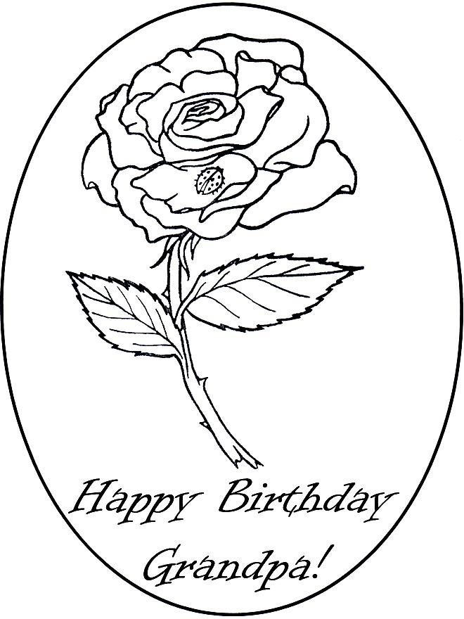 Раскраска Happy Birthday Grandpa