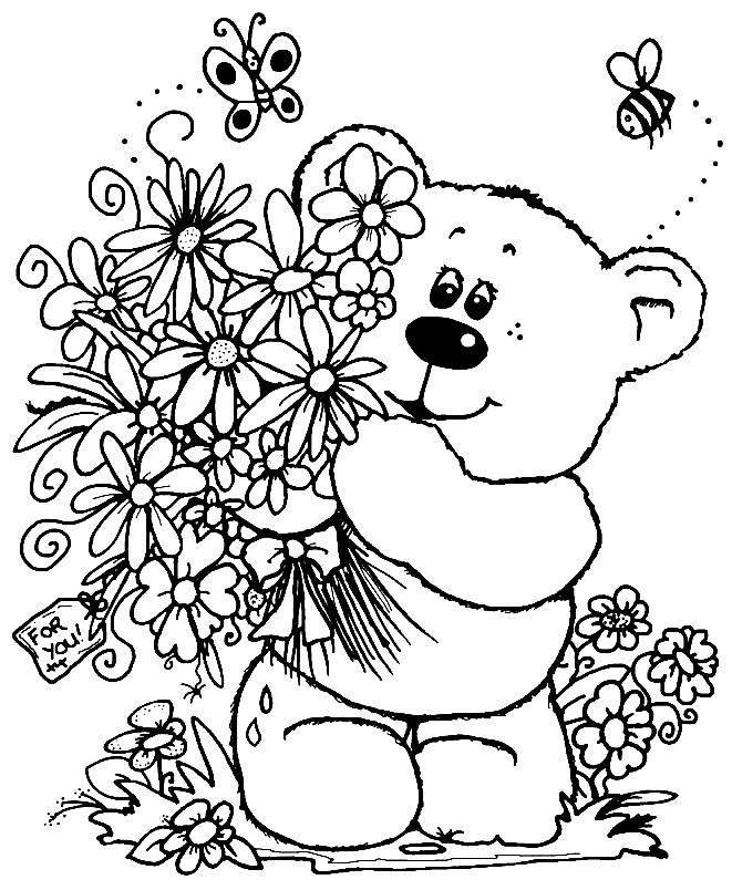 Раскраска букетов цветов на день рождения