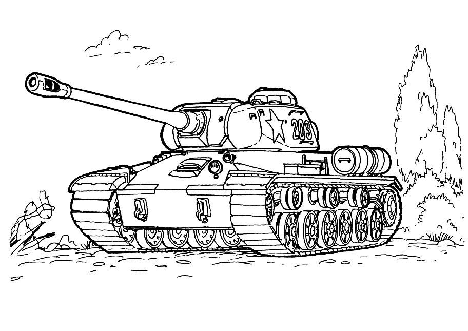 Раскраска боевой танк