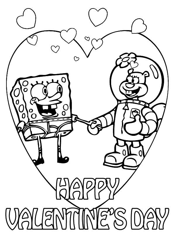 Раскраска валентинка от Спанч Боба и Сенди