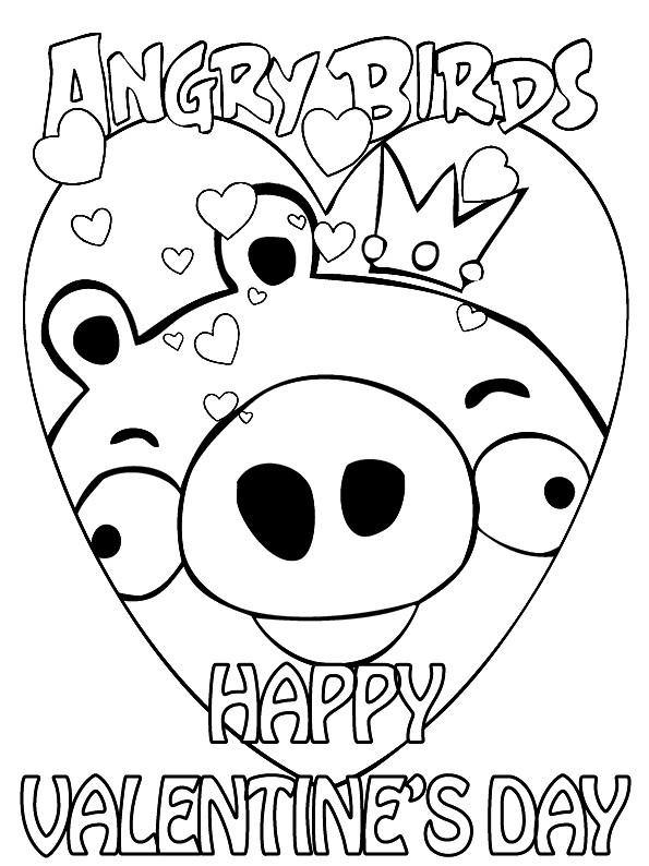 Раскраска валентинка Angry Birds