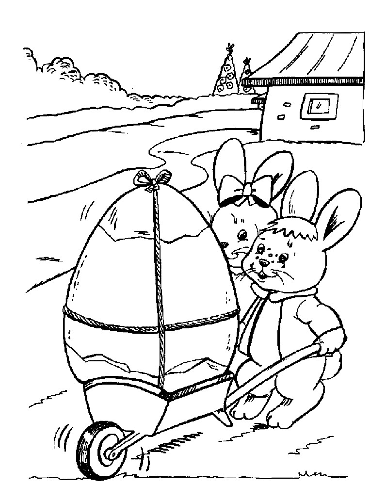 Раскраска Пасхальное яйцо и зайцы