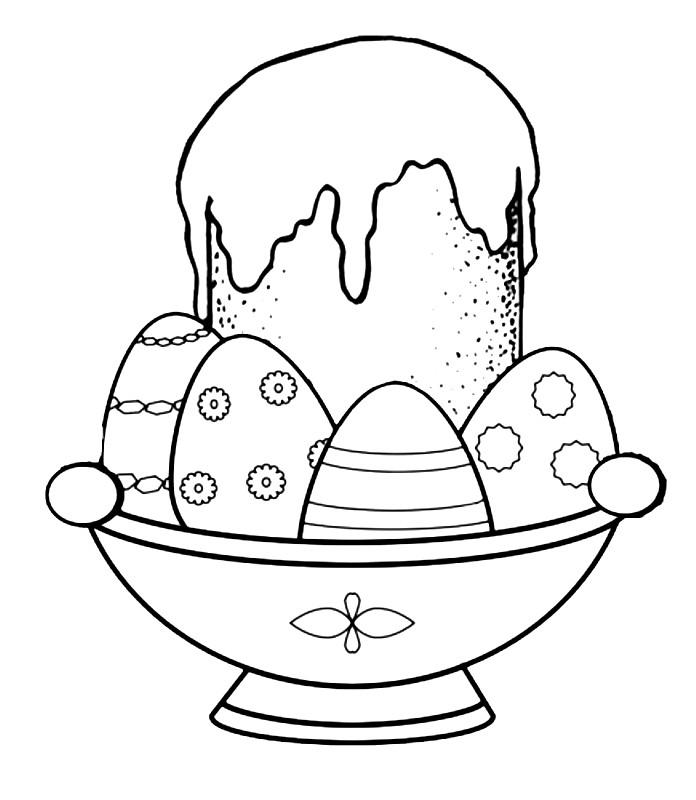 Раскраска Пасхальный кулич и крашеные яйца
