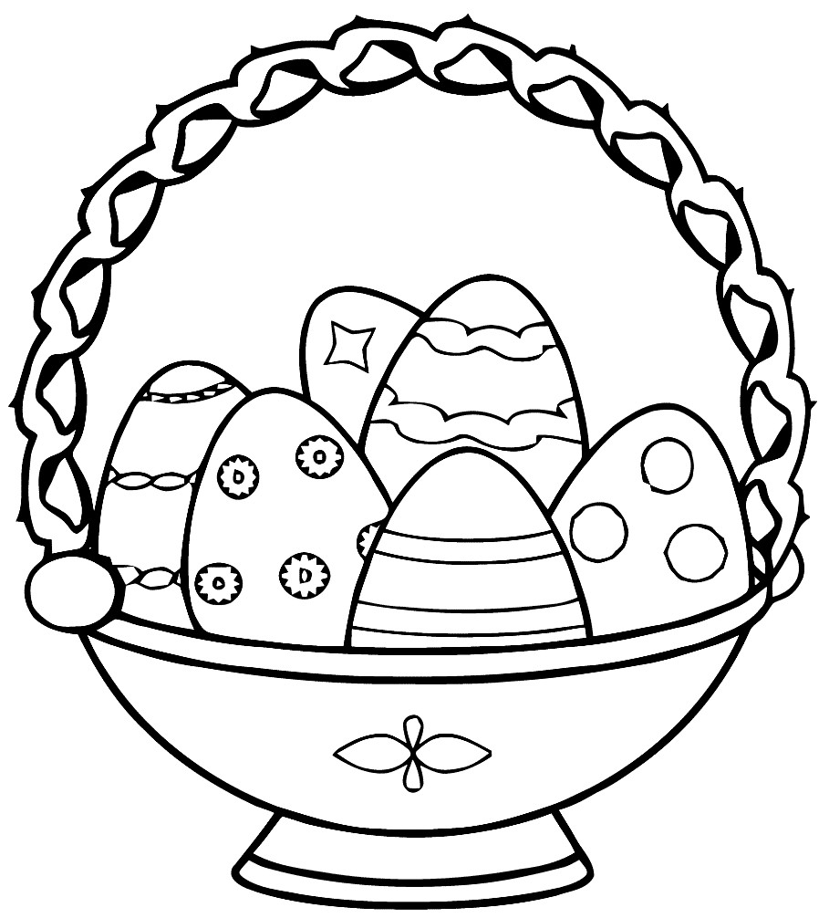 Раскраска корзина с Пасхальными яйцами
