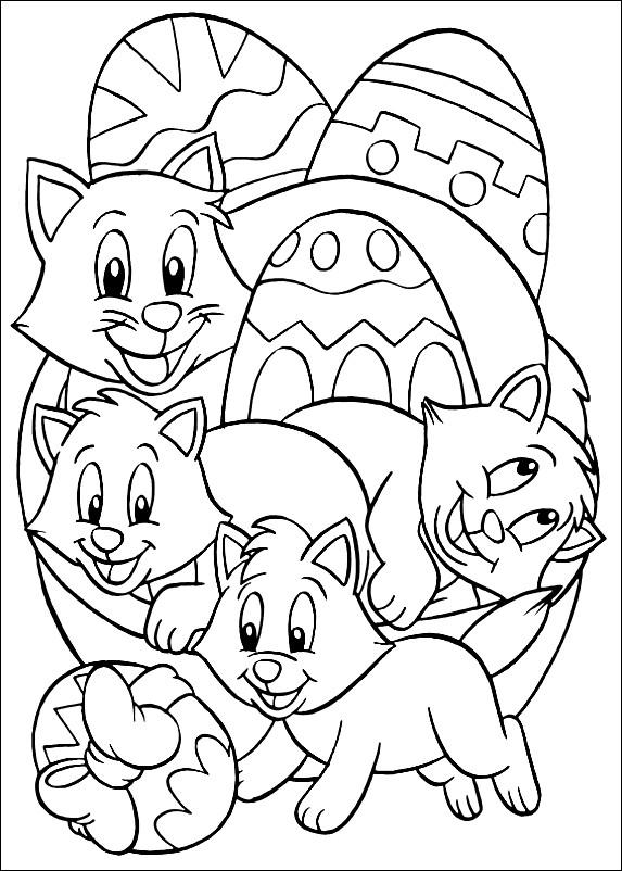 Раскраска Пасхальные яйца с котятами