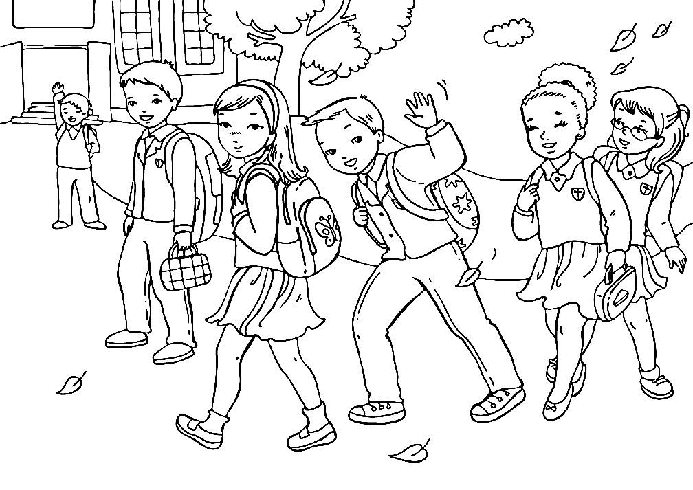 Раскраска дети идут в школу