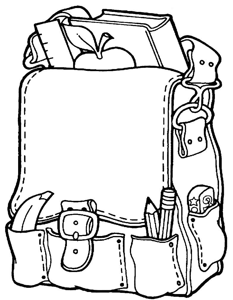 Раскраска школьный рюкзак