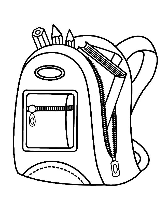 Раскраска сумка школьника