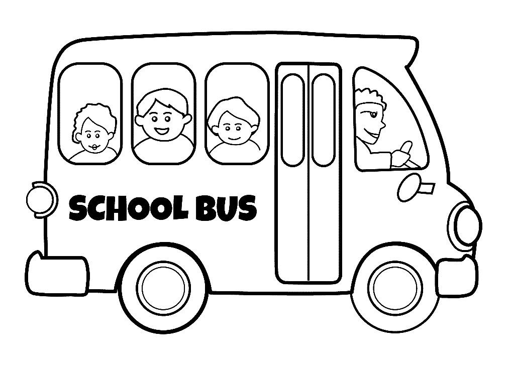Раскраска школьники в автобусе