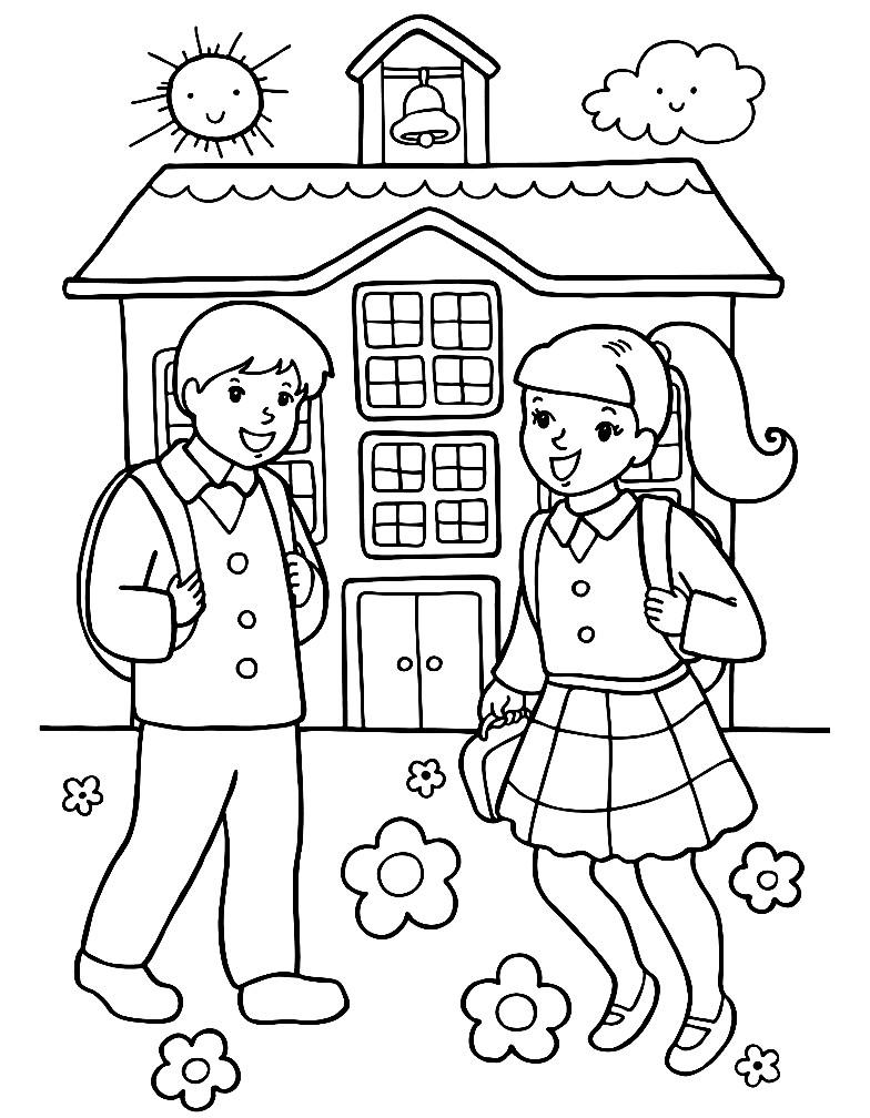 Раскраска мальчик и девочка идут в школу