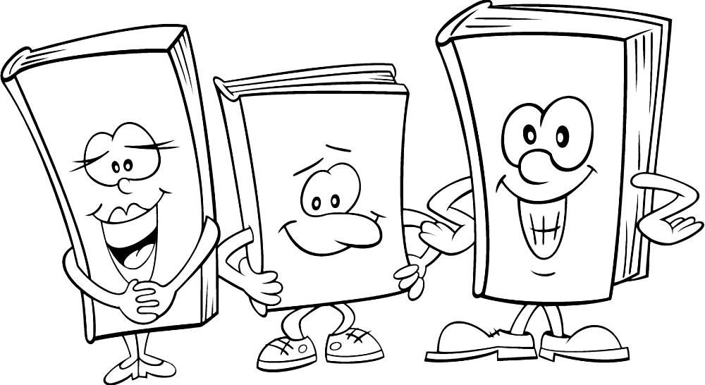 Раскраска веселые учебники
