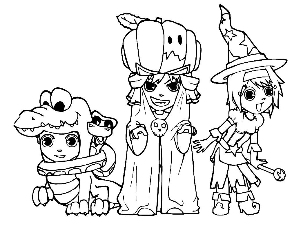 Раскраска дети в костюмах на Хэллоуин | Раскраски для ...