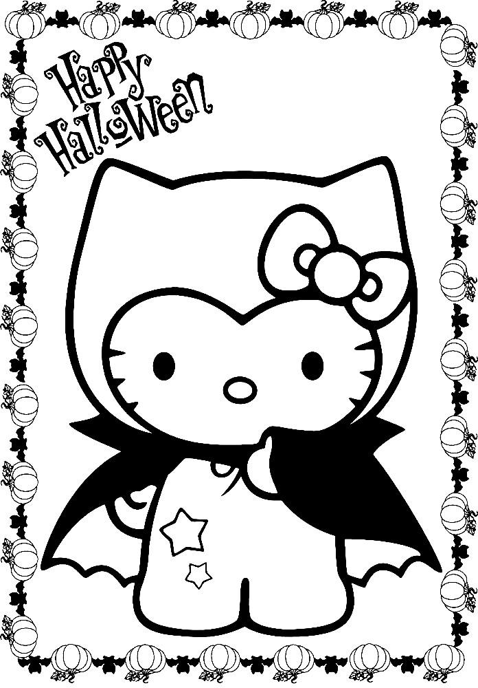 Раскраска Хэлло Китти на Хэллоуин