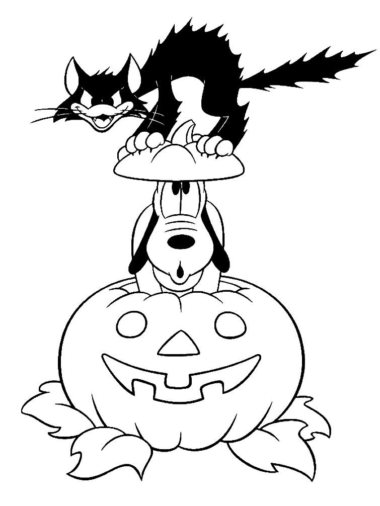 Раскраска тыква, пес и кот