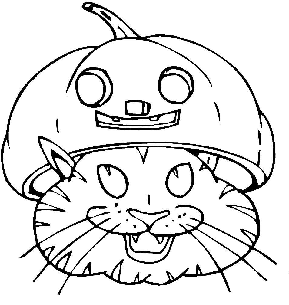 Раскраска кошка в маске Джека
