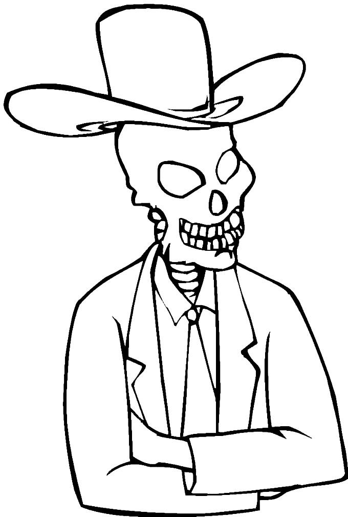 Раскраска скелет в костюме