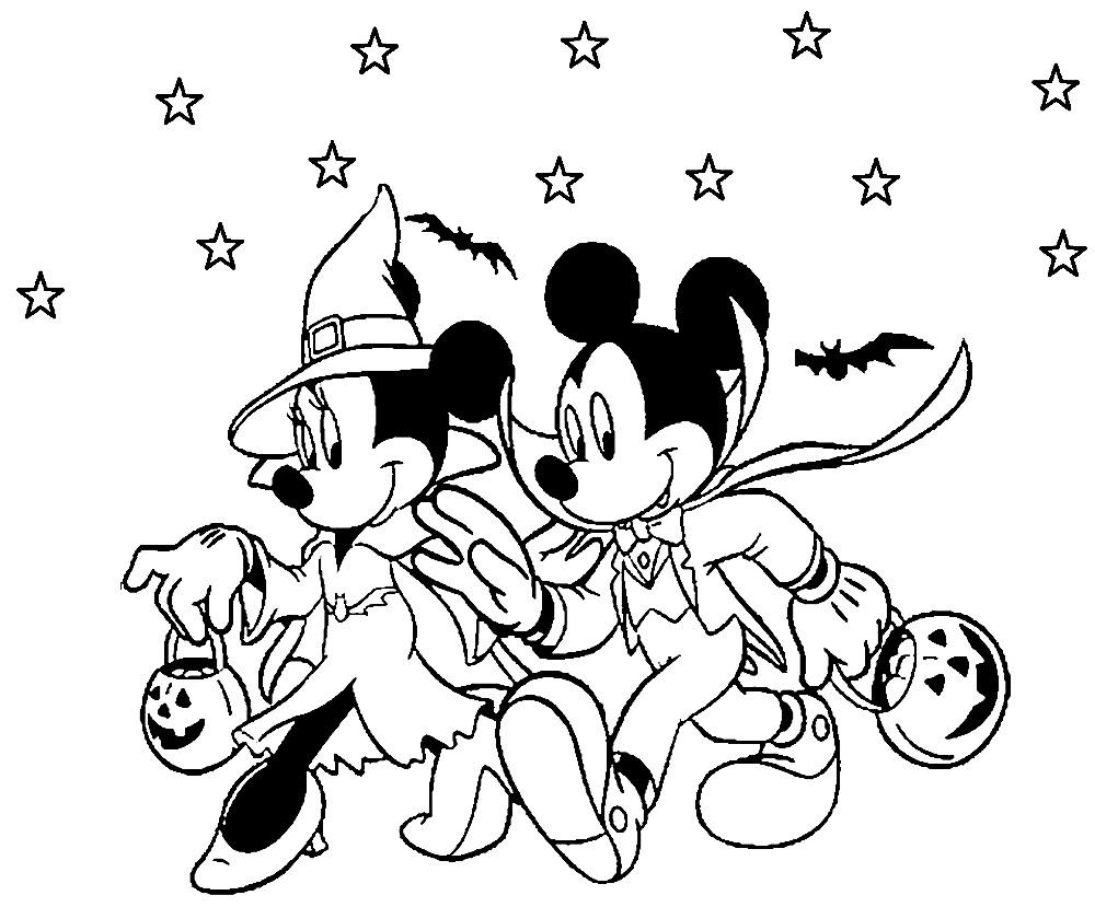 Раскраска Микки и Минни на Хэллоуине