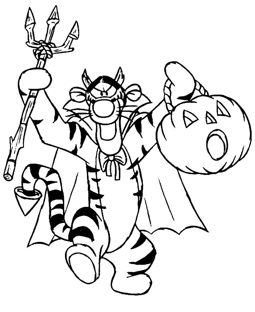 Раскраска Тигра на Хэллоуине