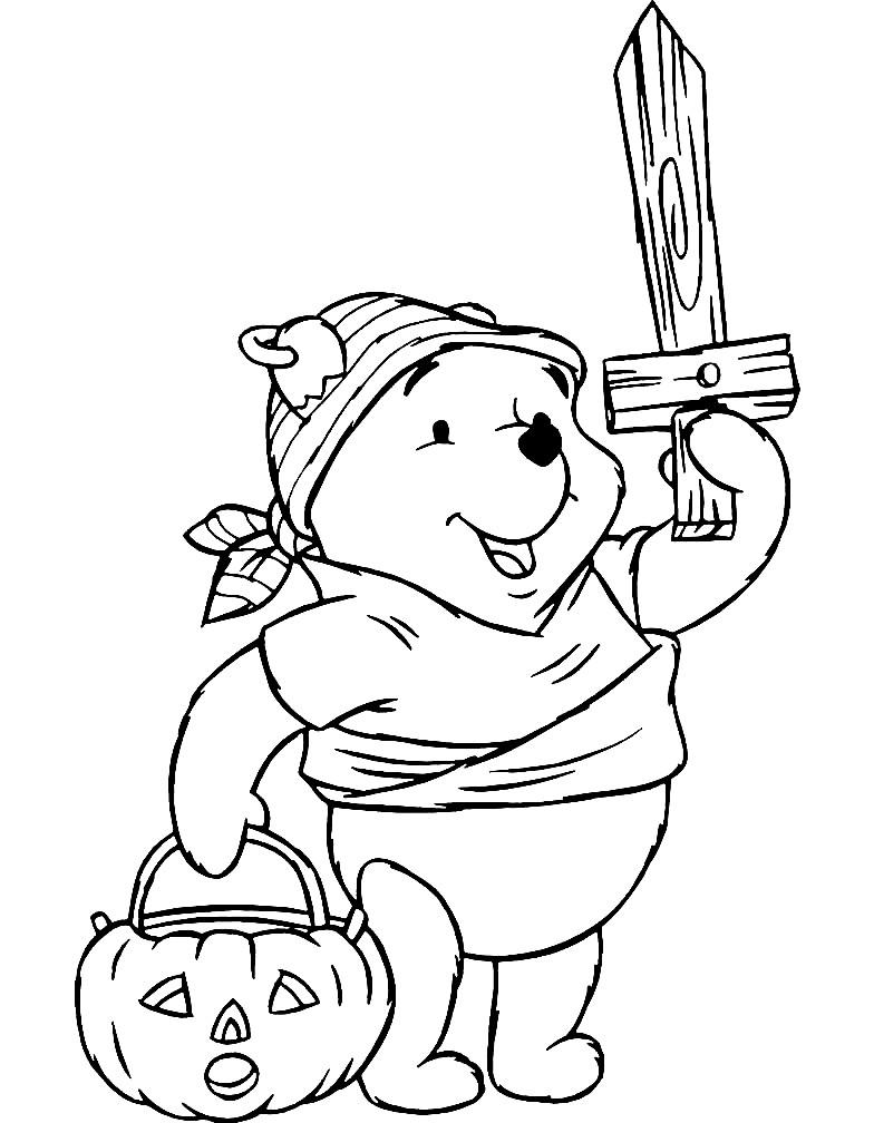 Раскраска Винни Пух на Хэллоуин