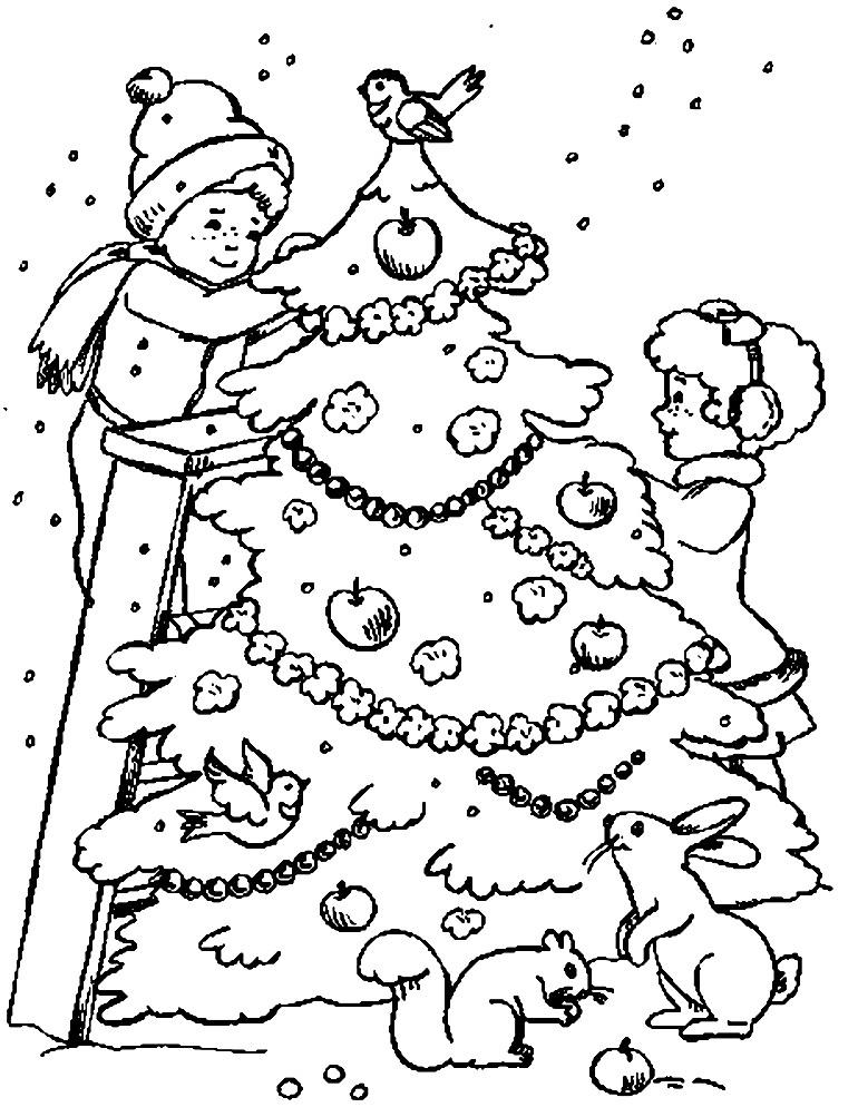 Раскраска дети украшают елку